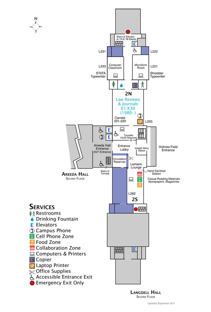 Langdell Second Floor Map
