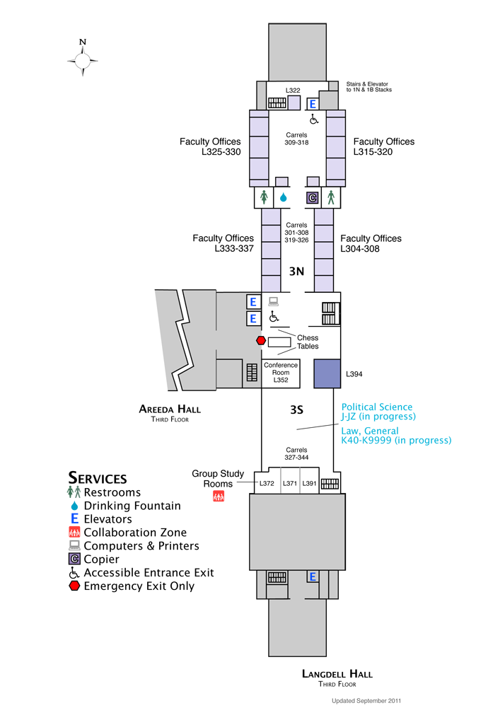 Langdell Hall Third Floor Map